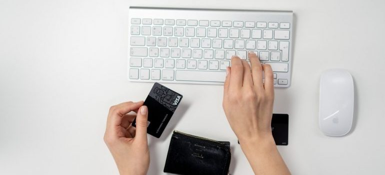 Person making an online purchase.