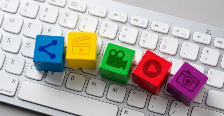 Different multimedia icons on keyboard.
