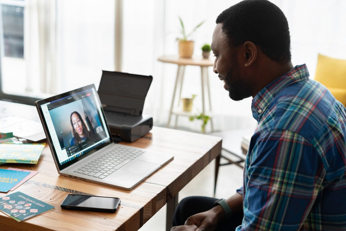A sales rep in a video call.