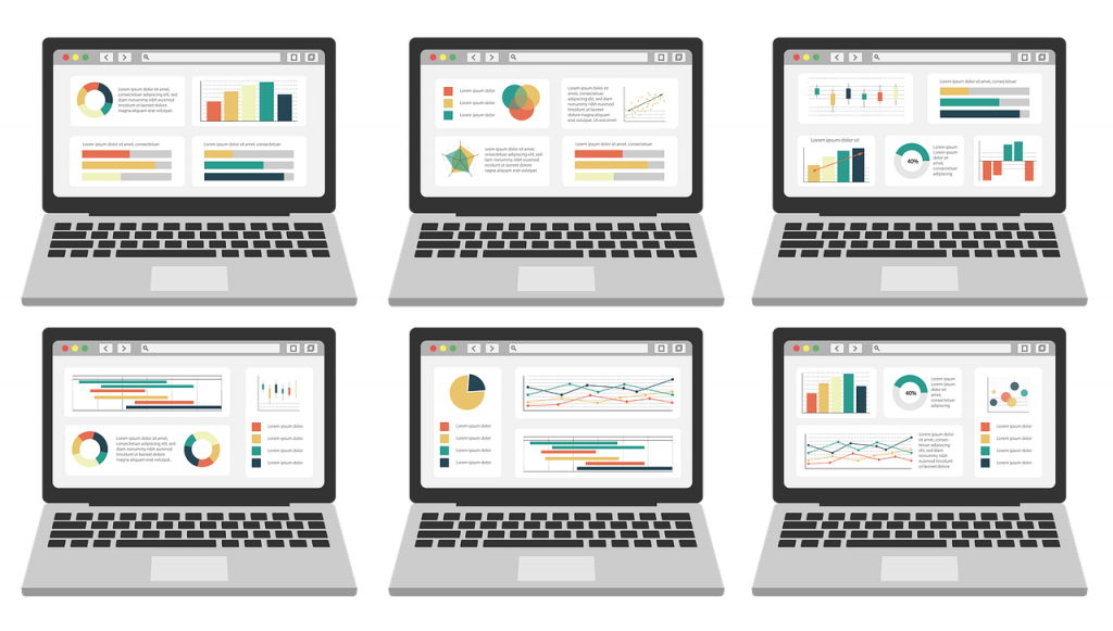 Six visually clean dashboards with graphs on monitors.