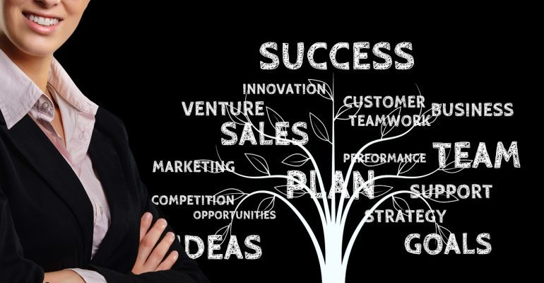 """A businesswoman standing beside the """"Success plan"""" in a shape of a three."""