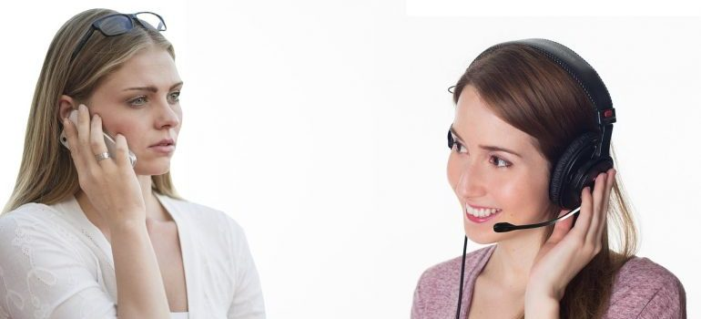 Talking with a customer service representative.