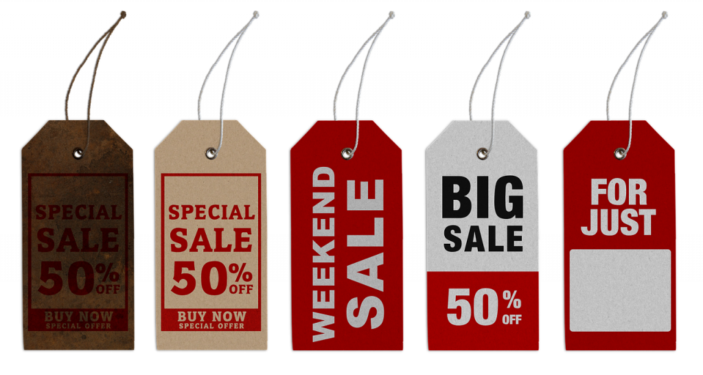 Five tags with different discount offers.