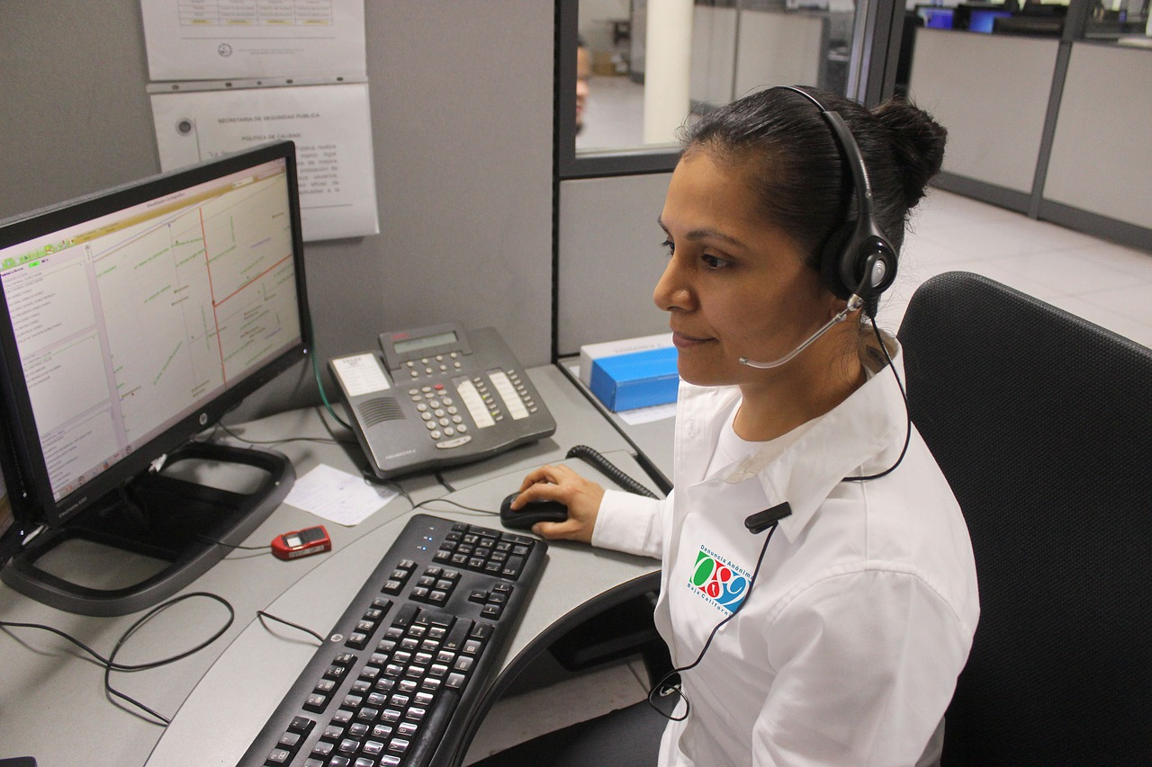An example where the police call service officer is using automatic call distribution systems to handle calls.