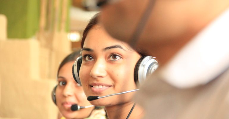 An agent in a call center.